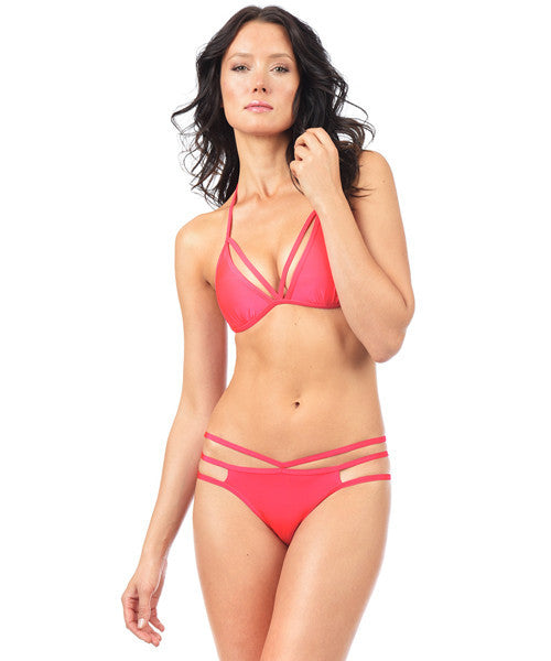 Voda Swim Envy Push Up Cutout String Bikini Top in Hot Coral - Beachbliss Swimwear & Apparel - 3