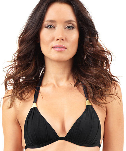 Voda Swim Envy Push Up Trapezoid Halter Bikini Top in Black - Beachbliss Swimwear & Apparel - 1