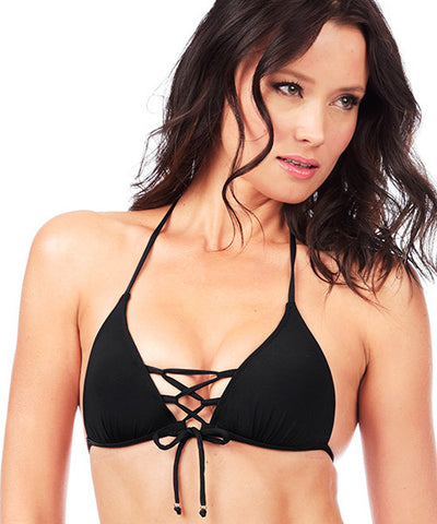 Voda Swim Envy Push Up Corset Bikini Top in Black
