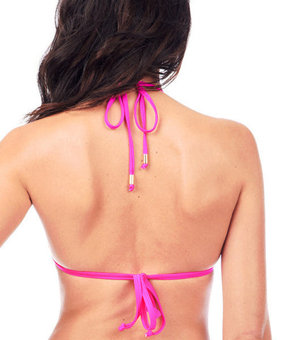Voda Swim Envy Push Up Corset Bikini Top in Bright Pink