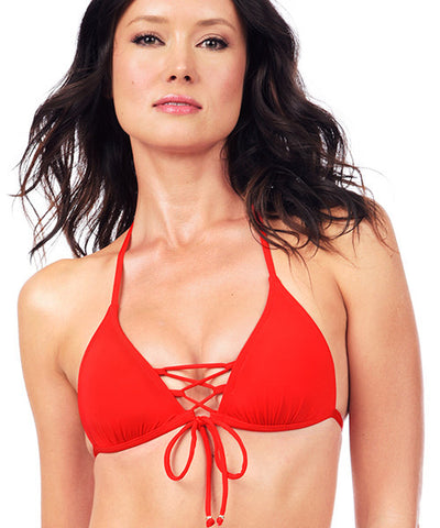 Voda Swim Envy Push Up Corset Bikini Top in Scarlet