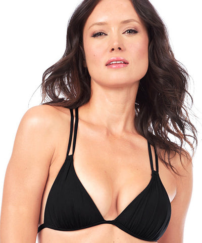 Voda Swim Envy Push Up Macrame Bikini Top in Black