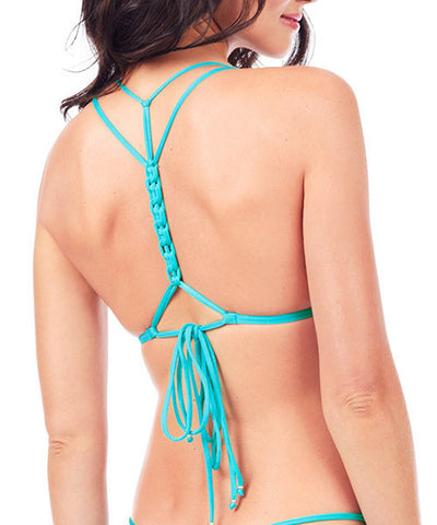 Voda Swim Envy Push Up Macrame Bikini Top in Turquoise