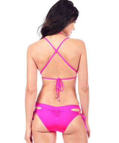 Voda Swim Envy Push Up Cutout Monokini One Piece Swimsuit in Bright Pink