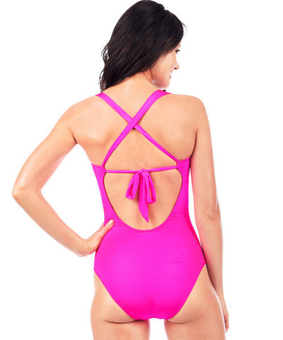Voda Swim Envy Push Up Bandeau One Piece Swimsuit in Bright Pink
