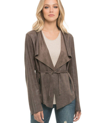 Elan - Faux Suede Fold Over Jacket in Mocha - Beachbliss Swimwear & Apparel - 1