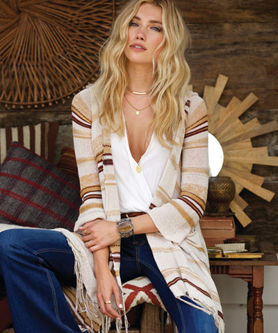 Elan - Long Drape Open Front Hooded Sweater with Fringe - Beachbliss Swimwear & Apparel - 1
