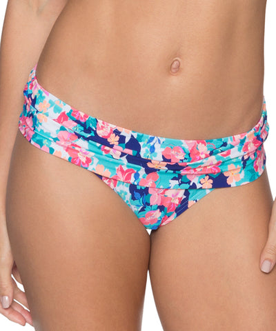 Sunsets Separates Flower Bed - Unforgettable Shirred Waist Bikini Bottom