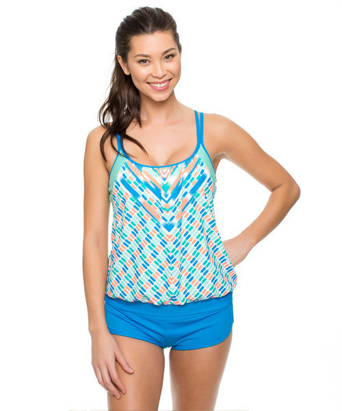 Next - Go With The Flow Double Up Tankini in Deep Marine - Beachbliss Swimwear & Apparel - 3