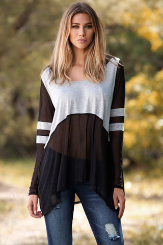 Elan - Scoop Neck Stripe Sleeve Tunic in Grey/Black - Beachbliss Swimwear & Apparel - 1