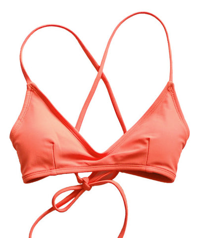 Kovey - Swell Cross Back Bikini Top in Peachy - Beachbliss Swimwear & Apparel - 1