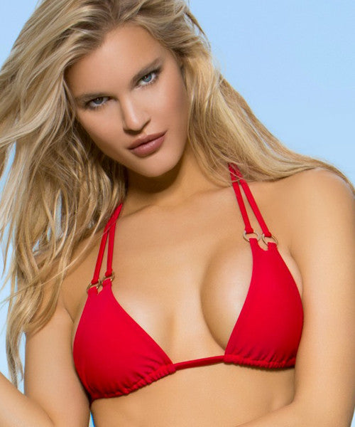 db2341ccd7c45 Lady Lux Double Trouble - Triangle Bikini Top in Red