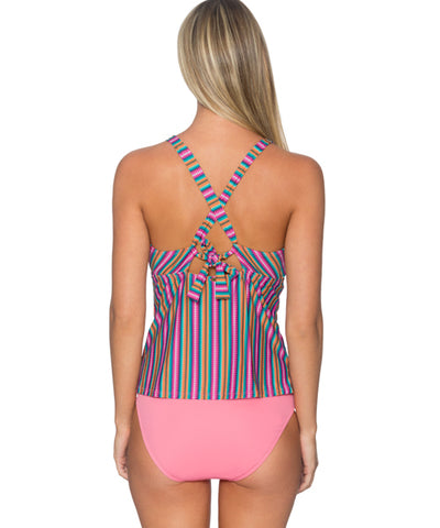 Sunsets Separates Lima Stripe - Mia High Neck Tankini Top - Beachbliss Swimwear & Apparel - 2