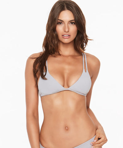 L*Space Sensual Solids Becky Bikini Top - Fog Grey - Beachbliss Swimwear & Apparel - 1