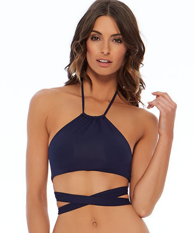 L*Space Sensual Solids Lizzie Wrap Bikini Top - Midnight Blue - Beachbliss Swimwear & Apparel - 1