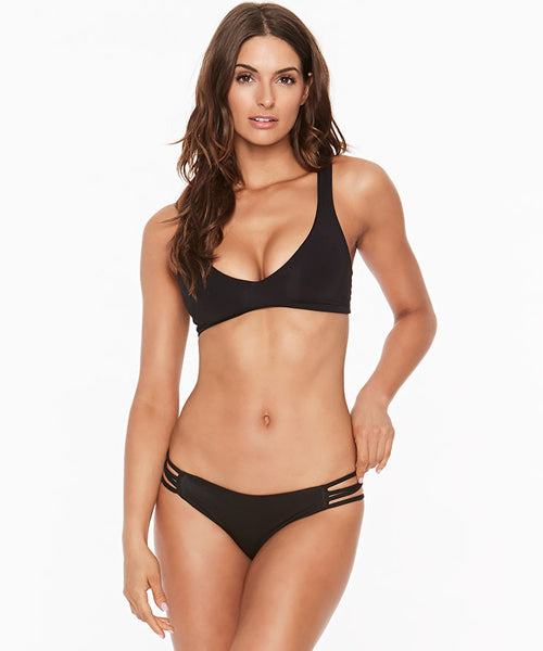 L*Space Sensual Solids Low Down Full Cut Bikini Bottom - Black