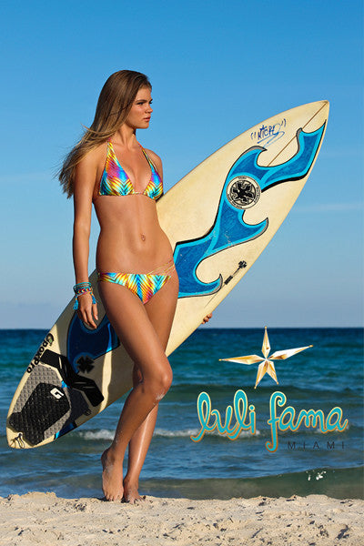 Luli Fama - Playa Verano Salt Life Triangle Halter Bikini Top - Beachbliss Swimwear & Apparel - 5