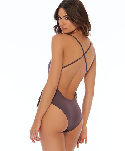 L*Space Fringe Gypsy One Piece Swimsuit - Pebble - Beachbliss Swimwear & Apparel - 2