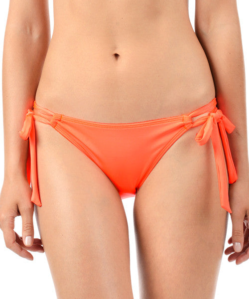 Voda Swim Side Tie Hipster Bikini Bottom in Neon Orange - Beachbliss Swimwear & Apparel - 1