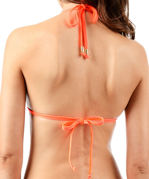 Voda Swim Envy Push Up Fringe String Bikini Top in Neon Orange - Beachbliss Swimwear & Apparel - 2