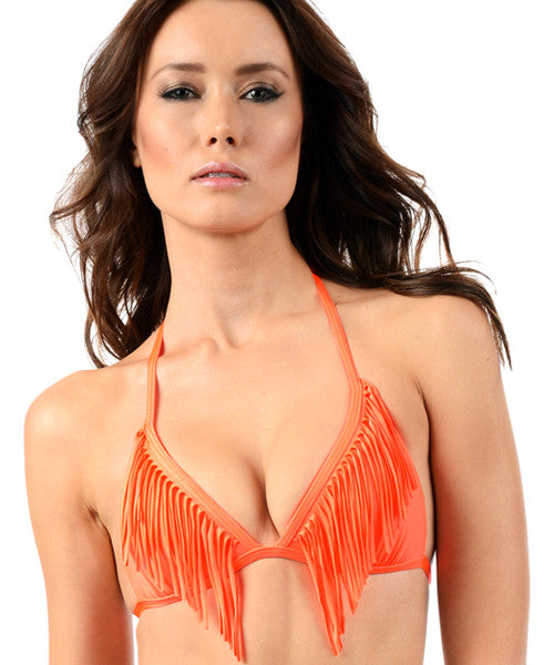 Voda Swim Envy Push Up Fringe String Bikini Top in Neon Orange - Beachbliss Swimwear & Apparel - 1
