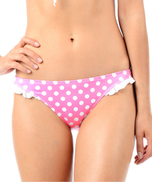 Voda Swim Ruffle Hipster Bikini Bottom in Pink Dot - Beachbliss Swimwear & Apparel - 1