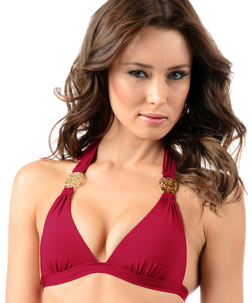 Voda Swim Envy Push Up Rose Halter Bikini Top in Raspberry - Beachbliss Swimwear & Apparel - 1