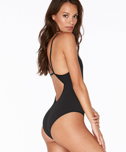 L*Space Ridin' High Ribbed Dakota One Piece Bitsy Cut Swimsuit - Black