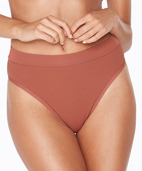 L*Space Ridin' High Ribbed Frenchi Bikini Bottom - Sahara