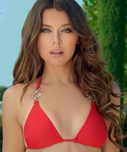 Lady Lux Rich & Pretty - Sliding Triangle Bikini Top in Red