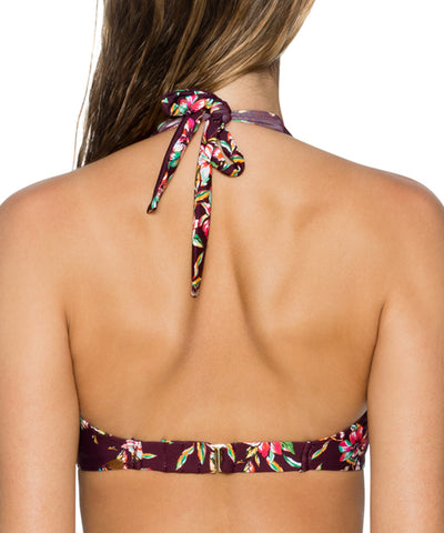 Sunsets Separates Rosewood Vines - Muse Halter Underwire Bikini Top