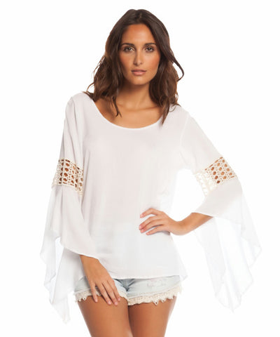 Elan - Off Shoulder Long Sleeve Top with Crochet Sleeve Trim (White) - Beachbliss Swimwear & Apparel - 1
