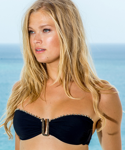 Sauvage - Black + Silver Bead Bandeau Top - Beachbliss Swimwear & Apparel - 1