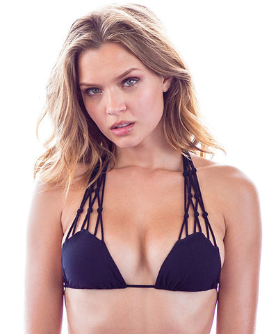 Sauvage - Macrame Triangle Bikini Top in Black