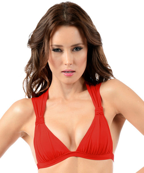 Voda Swim Envy Push Up Ruched Halter Top in Scarlet - Beachbliss Swimwear & Apparel - 1