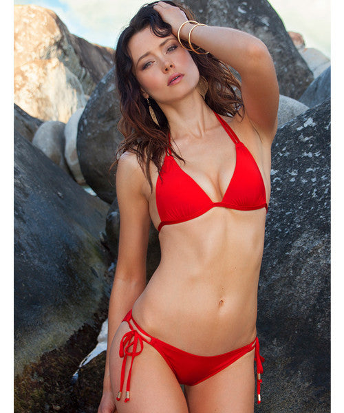 Voda Swim Envy Push Up Double String Bikini Top in Scarlet - Beachbliss Swimwear & Apparel - 5
