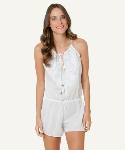 Sofia by ViX - Solid White Embroidered Cali Jumpsuit - Beachbliss Swimwear & Apparel - 1