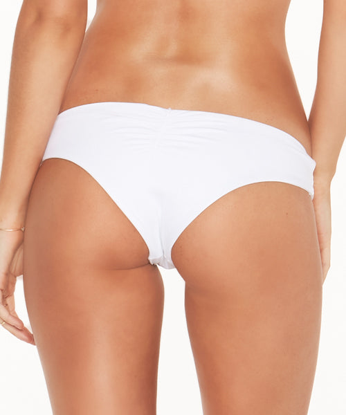 L*Space Solids Monique Bitsy Cut Bikini Bottom - White