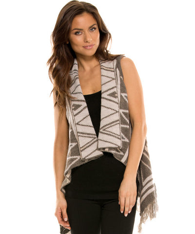 Elan - Fringed Reversible Aztec Sweater Vest in Taupe - Beachbliss Swimwear & Apparel - 1