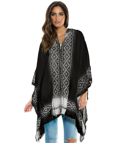 Elan - Hooded Zip Up Sweater Poncho - Beachbliss Swimwear & Apparel - 1