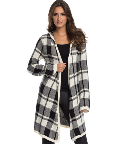 Elan - Long Open Front Hooded Sweater in Black and Cream Plaid - Beachbliss Swimwear & Apparel - 1