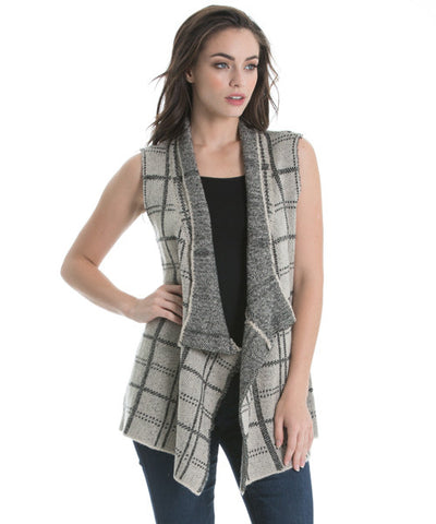 Elan - Plaid Sweater Vest in Taupe - Beachbliss Swimwear & Apparel - 1