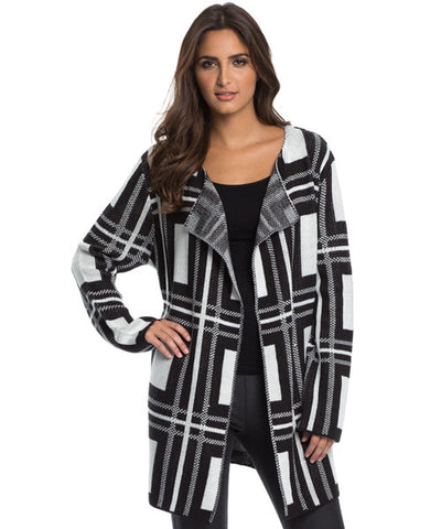 Elan - Black and White Plaid Sweater Cardigan - Beachbliss Swimwear & Apparel - 1