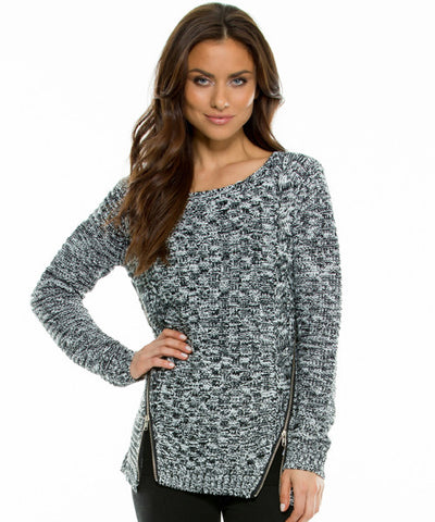 Elan - Crew Neck Sweater with Slanted Front Zippers - Beachbliss Swimwear & Apparel - 1