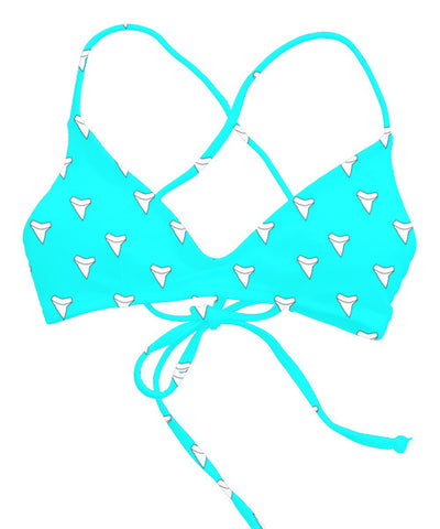 Kovey - Swell Cross Back Bikini Top in Shark Tooth Turquoise - Beachbliss Swimwear & Apparel - 1