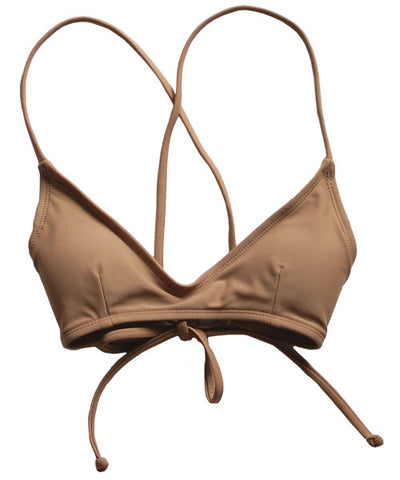 Kovey - Shred Cross Back Bikini Top in Nude - Beachbliss Swimwear & Apparel - 1