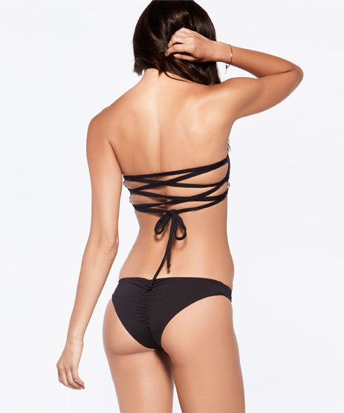 L*Space Two Timer Solids Emma Two Tone Bikini Bottom - Black - Beachbliss Swimwear & Apparel - 4