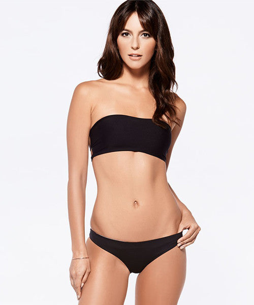 L*Space Two Timer Solids Emma Two Tone Bikini Bottom - Black - Beachbliss Swimwear & Apparel - 3