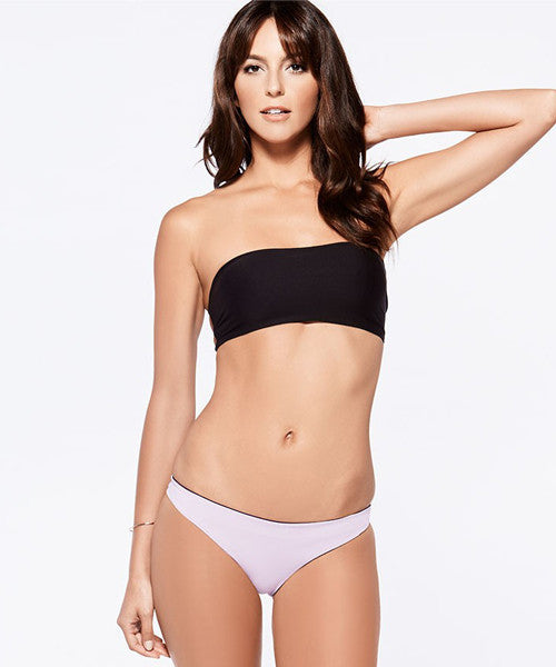 L*Space Two Timer Solids Emma Two Tone Bikini Bottom - Black - Beachbliss Swimwear & Apparel - 5