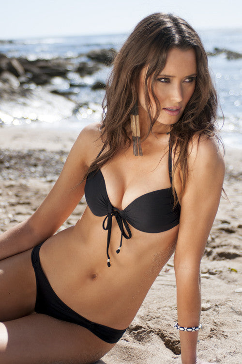Voda Swim Envy Push Up Tie Front Bikini Top & Side Shirred Bottom in Black - Beachbliss Swimwear & Apparel - 1